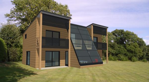 Modele maison bois contemporaine - maison parallele