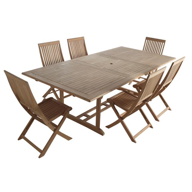 Table Et Chaise De Jardin En Bois. Excellent Distingu Ensemble Table ...
