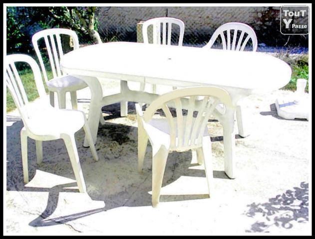 table de jardin blanche pas cher domino panda - Table Chaise De Jardin Pas Cher