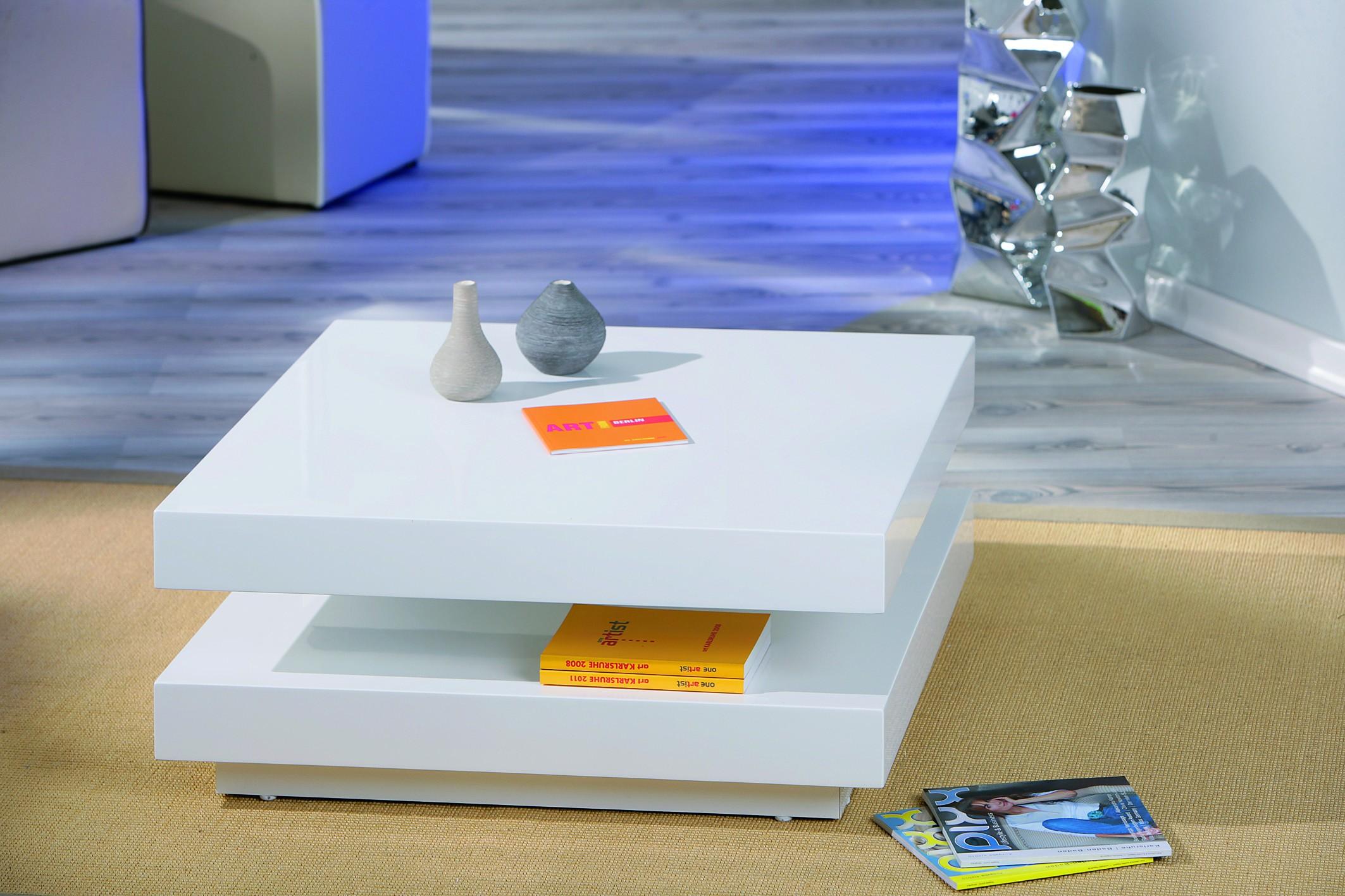 Table basse carrée blanc laqué