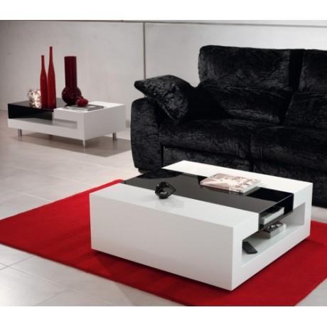 Table basse blanc noir