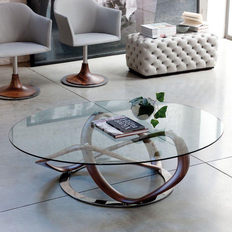 Table de salon ronde en verre