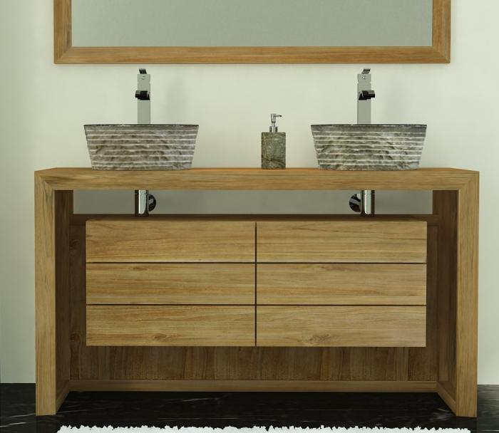 Meuble salle de bain vasque bois