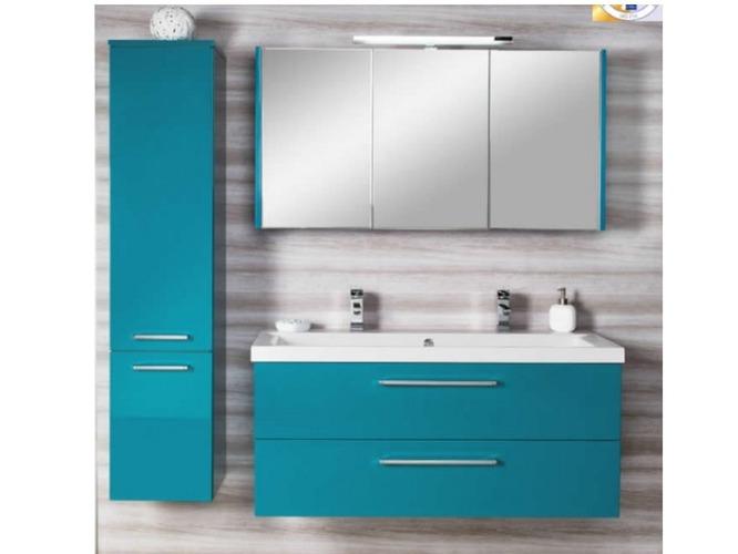 Meuble salle de bain bleu maison parallele - Meuble salle de bain bleu turquoise ...