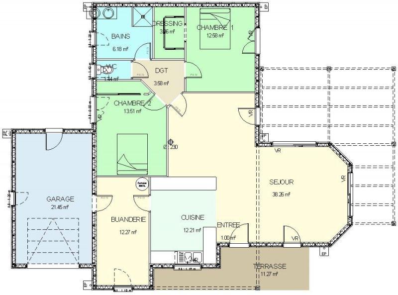 Plan maison plain pied ossature bois - maison parallele