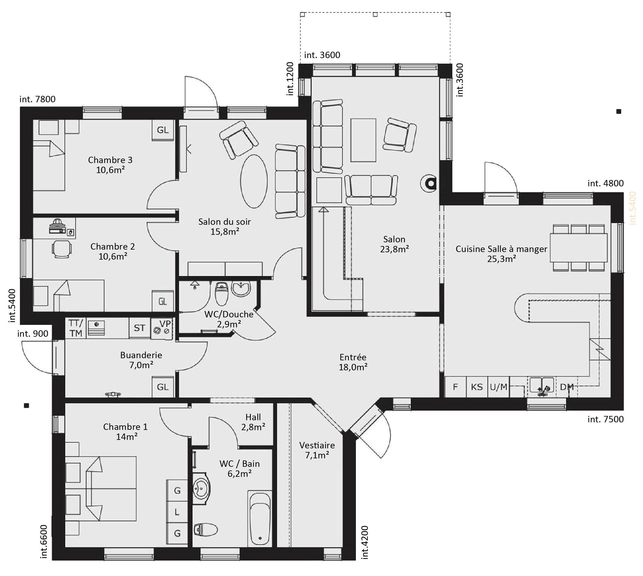 Plan maison ossature bois plain pied - maison parallele