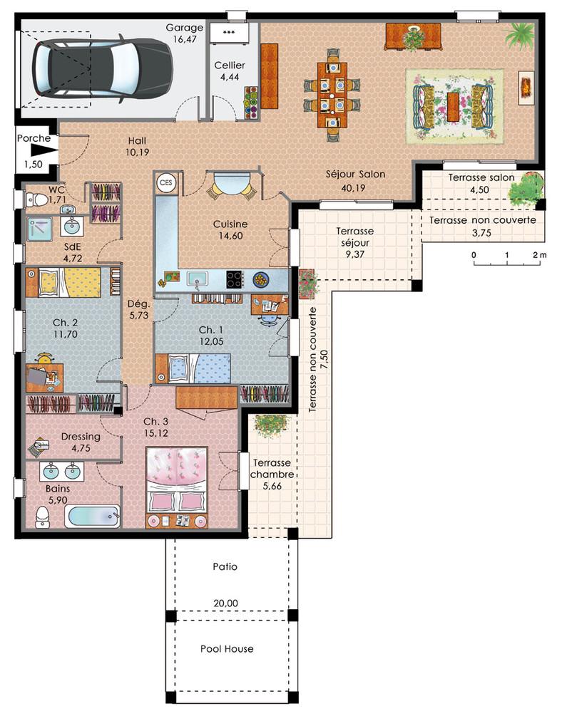 Idée plan maison plain pied