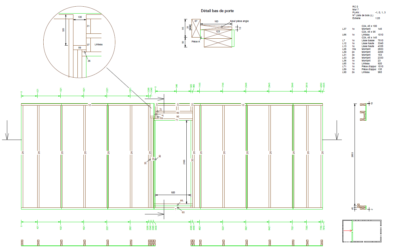 Plan mur ossature bois