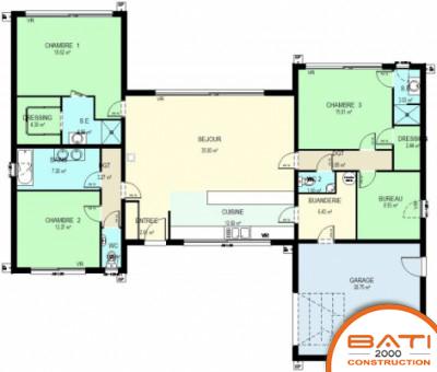 Plan maison bois plain pied 3 chambres