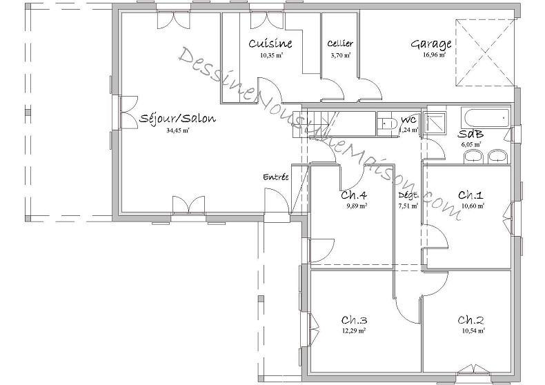 Plan de maison en l