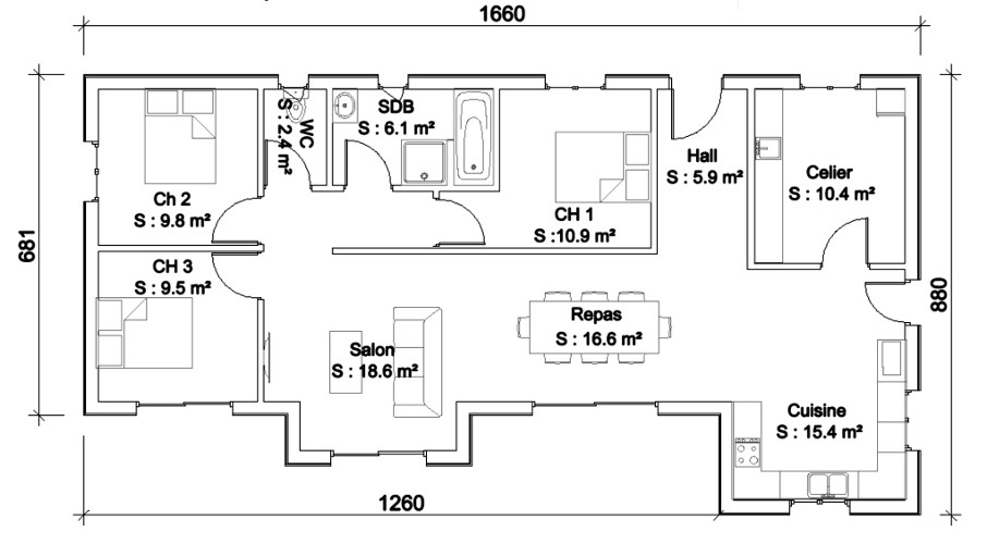 Modele maison bois plain pied