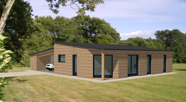 Modele maison ossature bois plain pied ventana blog - Modele de maison contemporaine plain pied ...