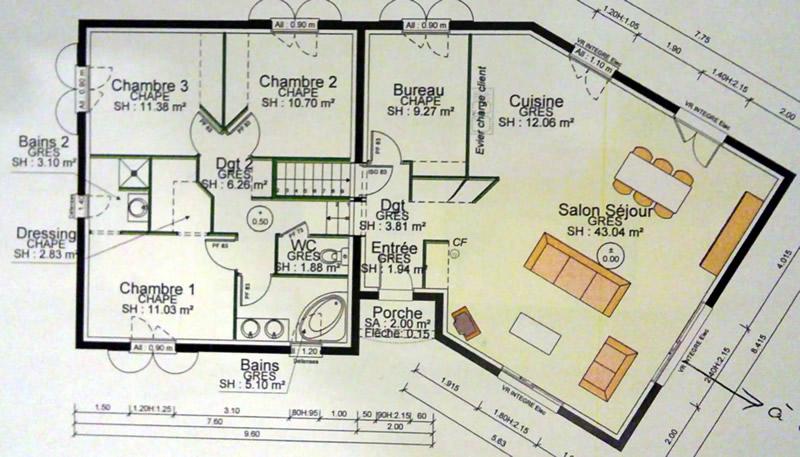 Plan maison sur sous sol