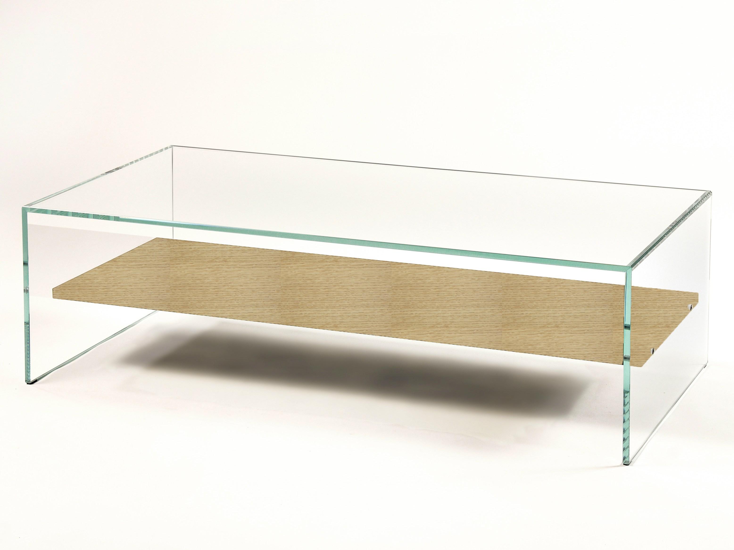 Table basse verre et bois design