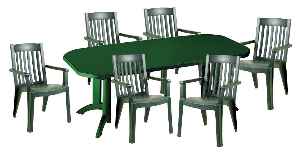 Table jardin plastique vert