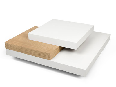 Table basse carrée bois blanc