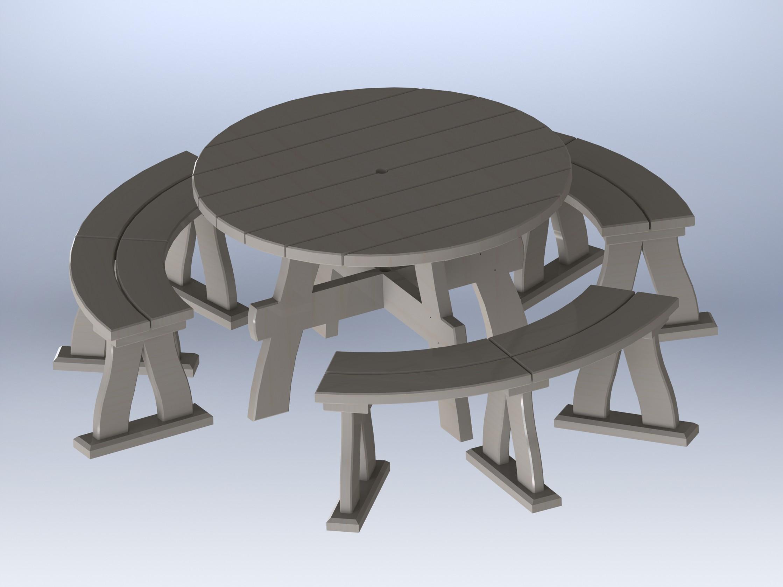 Table ronde en bois exterieur