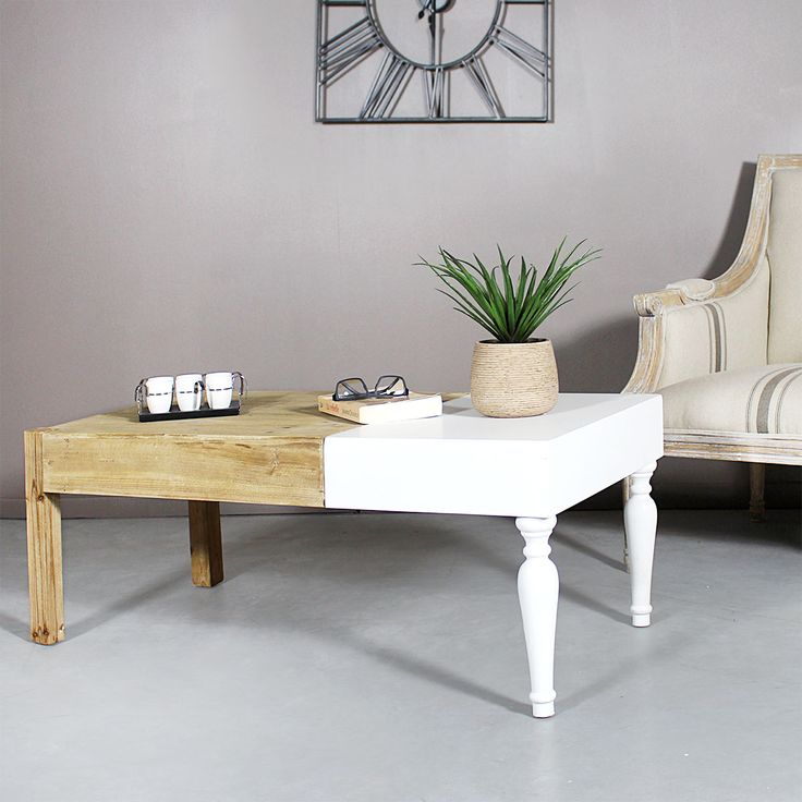 Table salon bois blanc