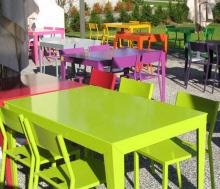 Table jardin bois metal - maison parallele