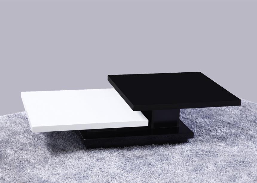 Table basse noir et blanc laqué