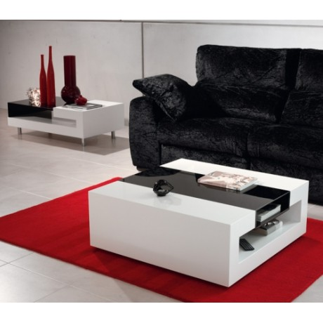 Table basse blanc noir