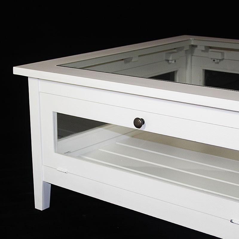 Table basse bois blanc et verre