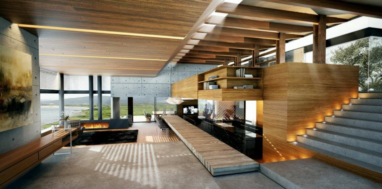Interieur maison bois - maison parallele