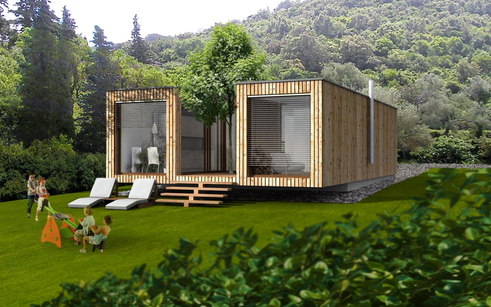 petite maison pr fabriqu e en bois maison parallele. Black Bedroom Furniture Sets. Home Design Ideas