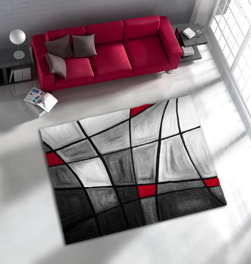 Tapis Moderne Rouge Maison Parallele