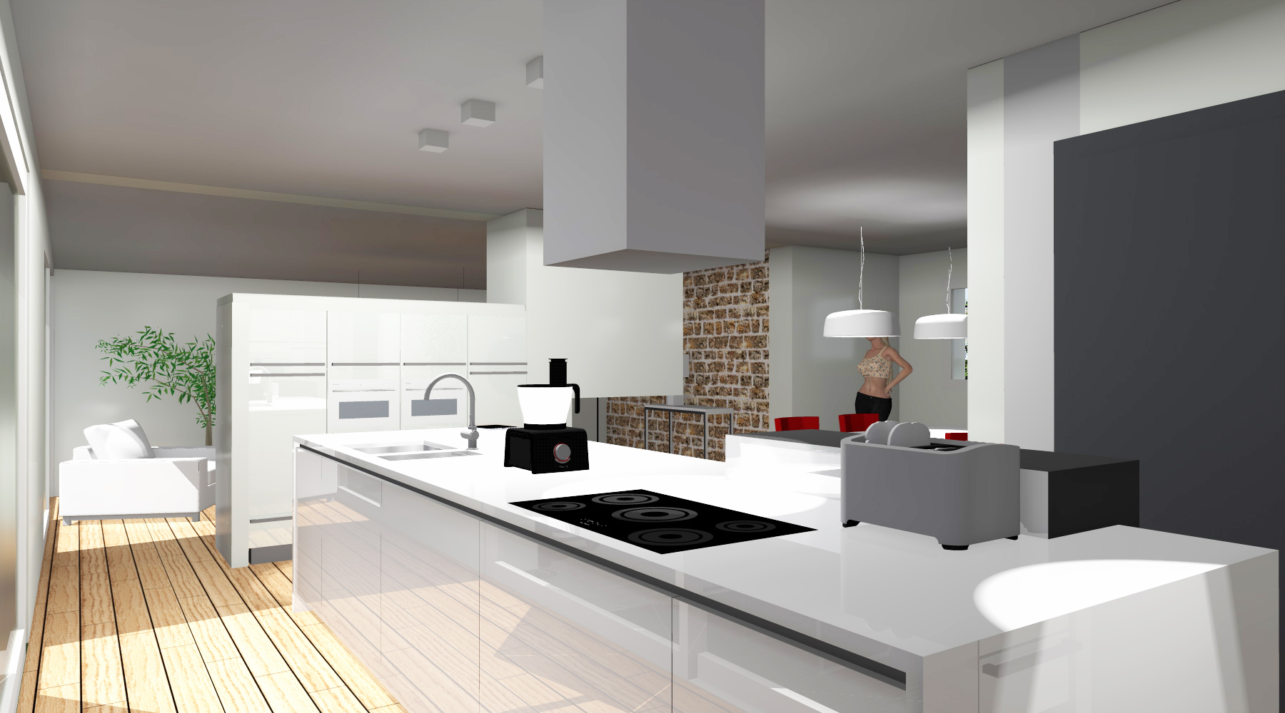 Cuisine 20m2 maison parallele - Amenagement cuisine salon ...