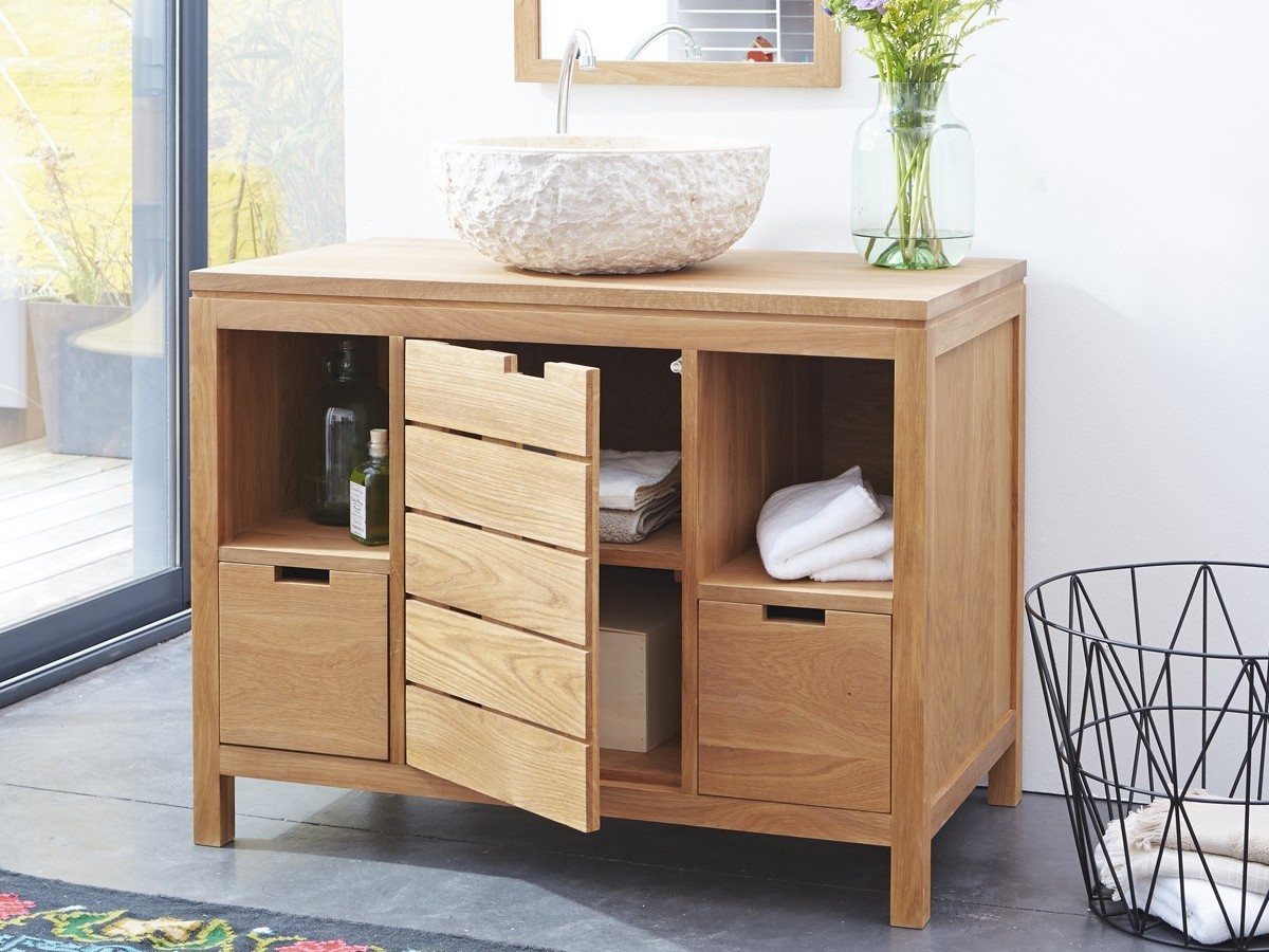 meuble salle de bain chene maison parallele. Black Bedroom Furniture Sets. Home Design Ideas