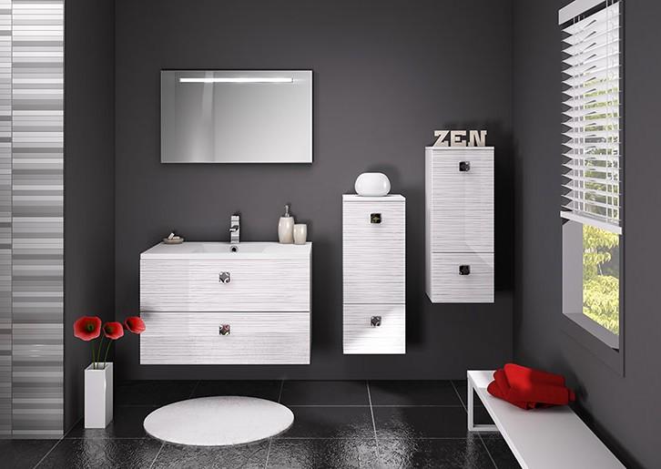 Meuble salle de bain gris et blanc
