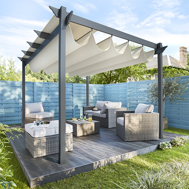 recherche pergola aluminium pour terrasse maison parallele. Black Bedroom Furniture Sets. Home Design Ideas