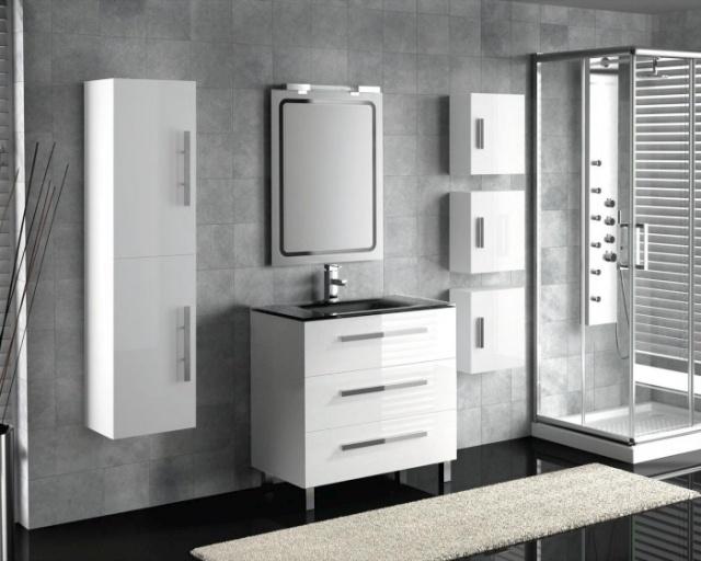 Meuble salle de bain blanc et gris - maison parallele