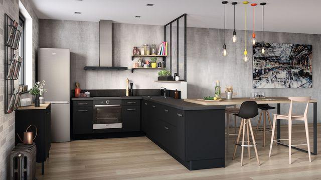 Cuisine ouverte en i maison parallele - Plan de maison avec cuisine ouverte ...