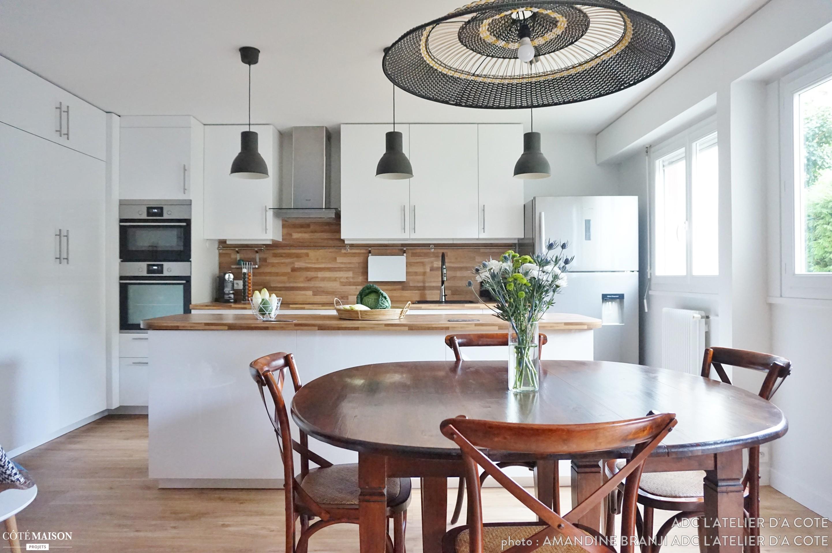 Cuisine salon salle manger 40m2 maison parallele - Amenagement salon salle a manger cuisine ouverte ...