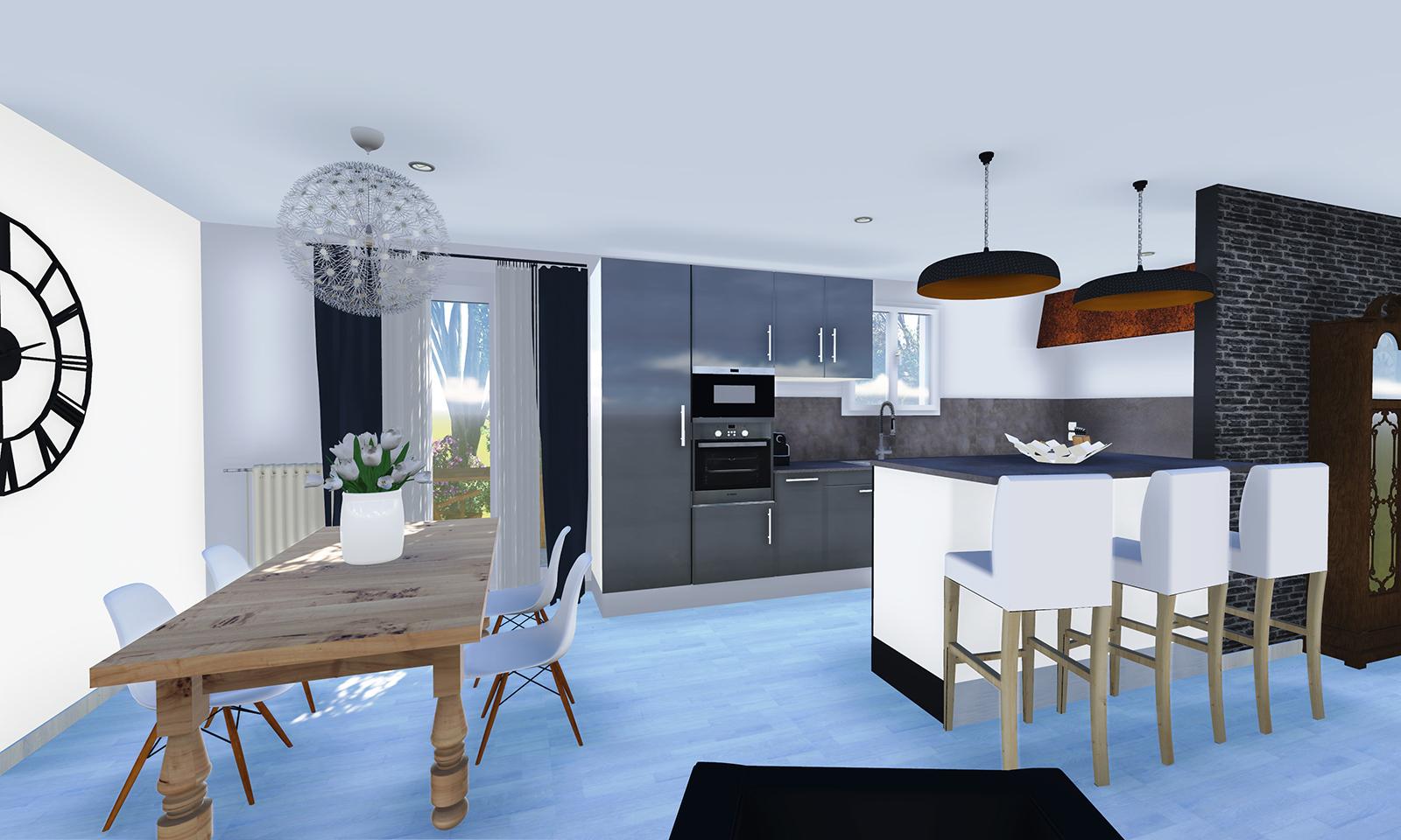 Salon salle a manger cuisine 35m2 maison parallele - Amenagement cuisine salon ...