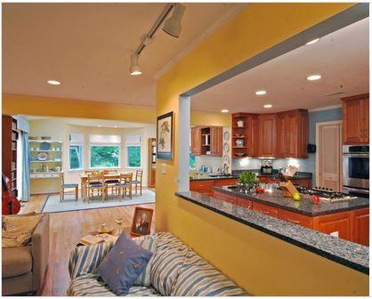 Model de cuisine ouverte sur le salon