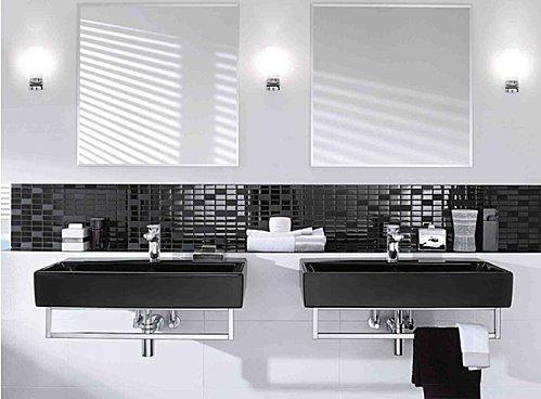 Salle de bain noir et blanc design - maison parallele