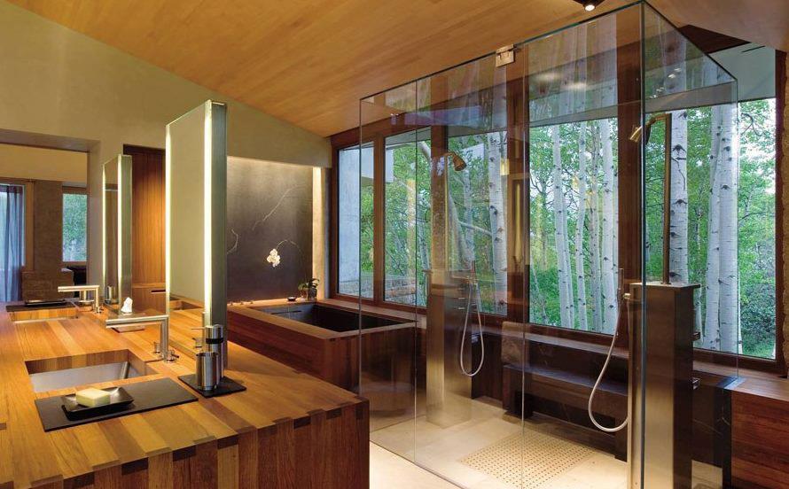 Salle de bain bois design - maison parallele