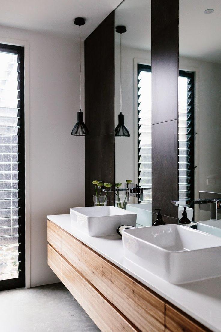 Meuble de salle de bain bois gris - maison parallele