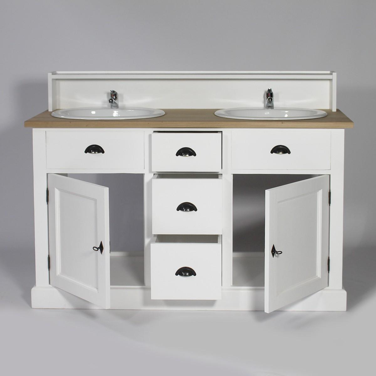 Meuble bois blanc salle de bain - maison parallele