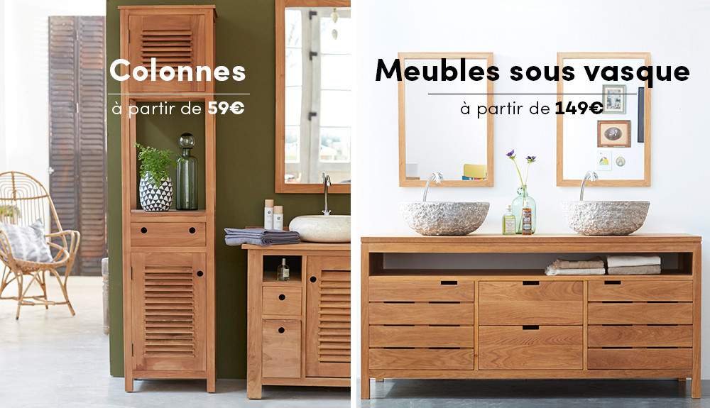 meuble de salle de bain bois maison parallele. Black Bedroom Furniture Sets. Home Design Ideas