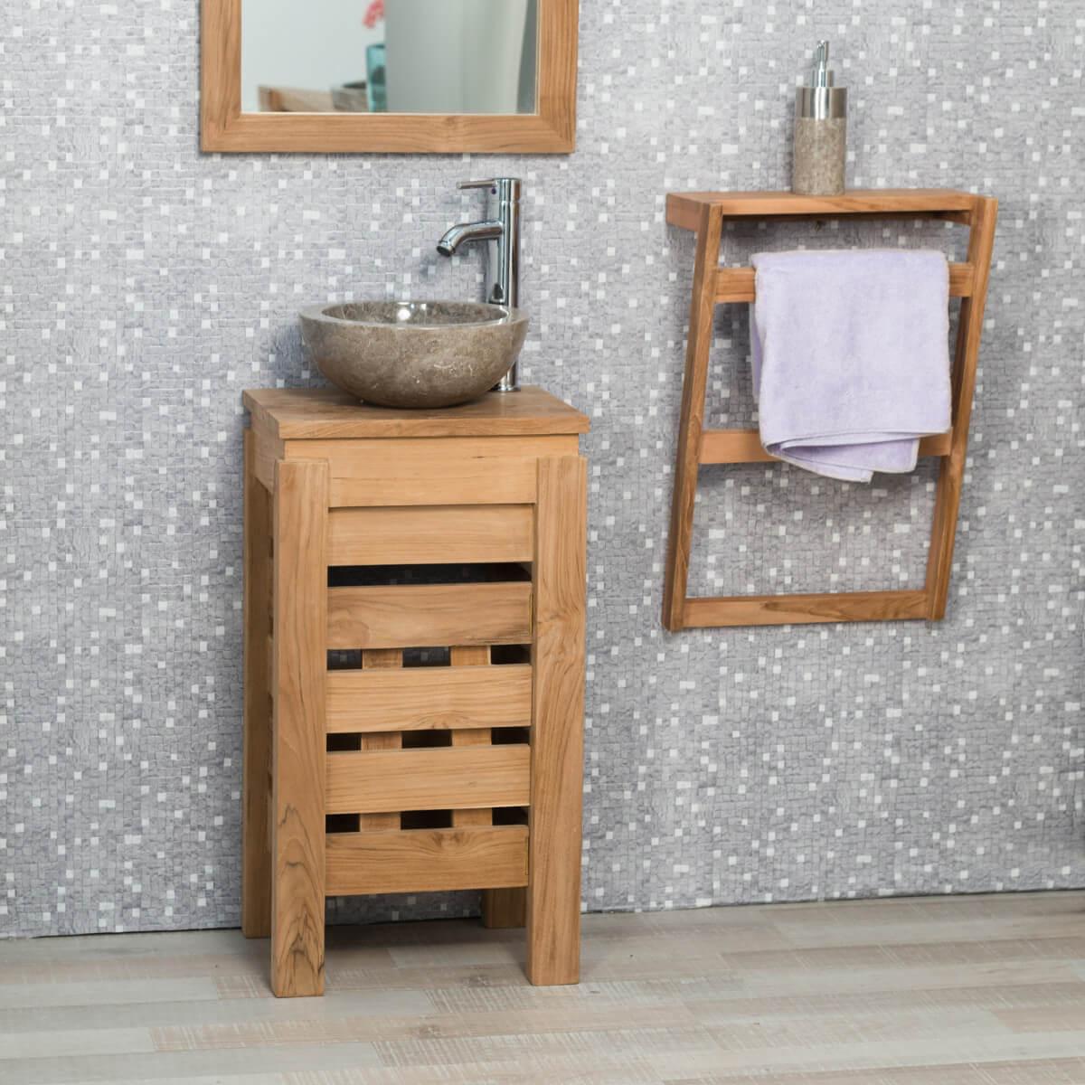 Petit meuble salle de bain bois