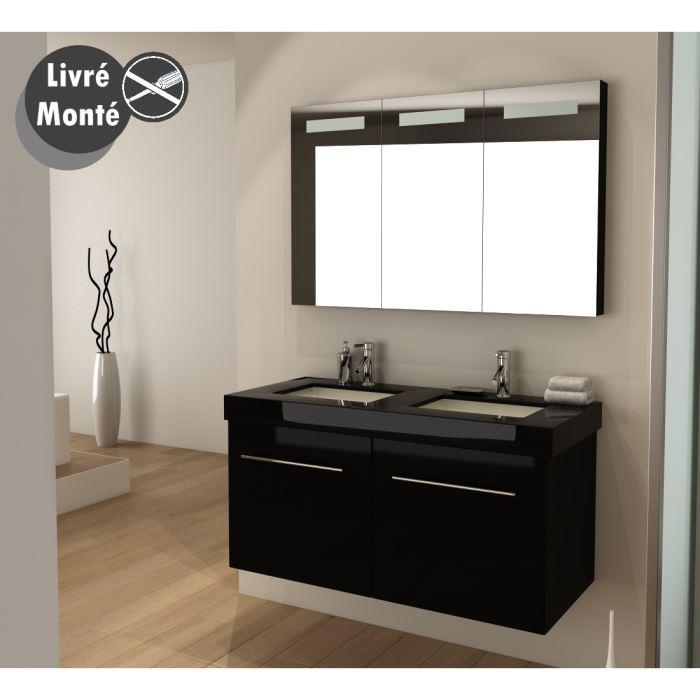 Ensemble lavabo salle de bain maison parallele - Meuble sous lavabo noir ...