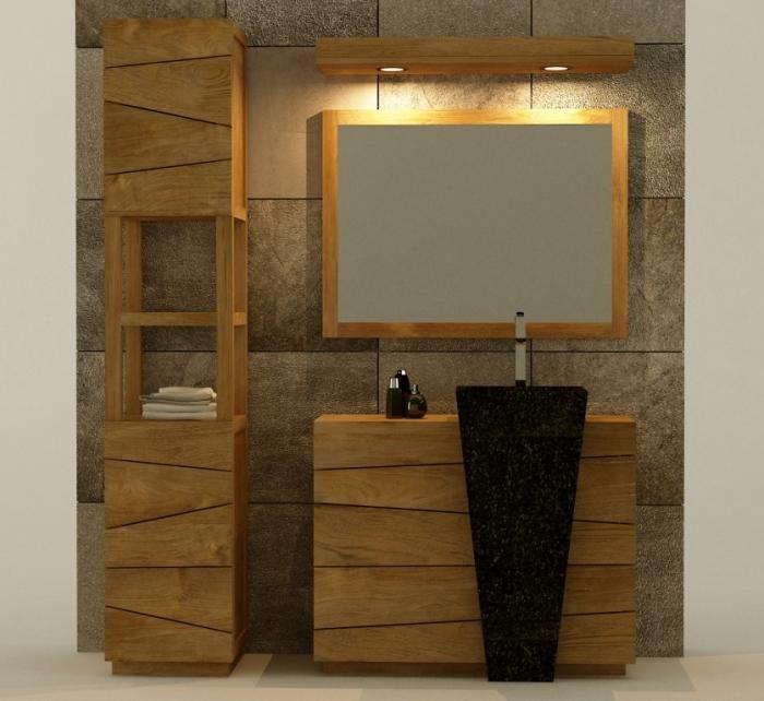 Meuble bois vasque salle de bain