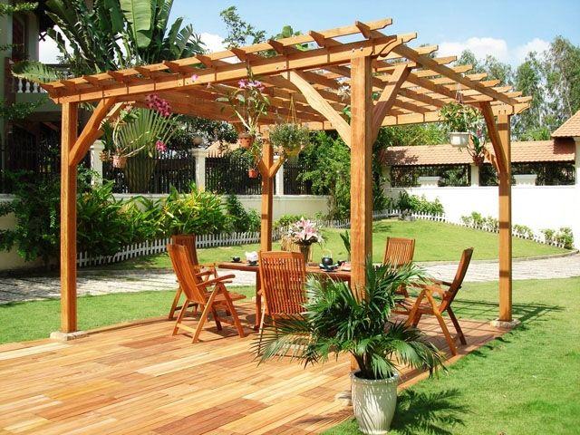 Pergola bois pour jardin - maison parallele