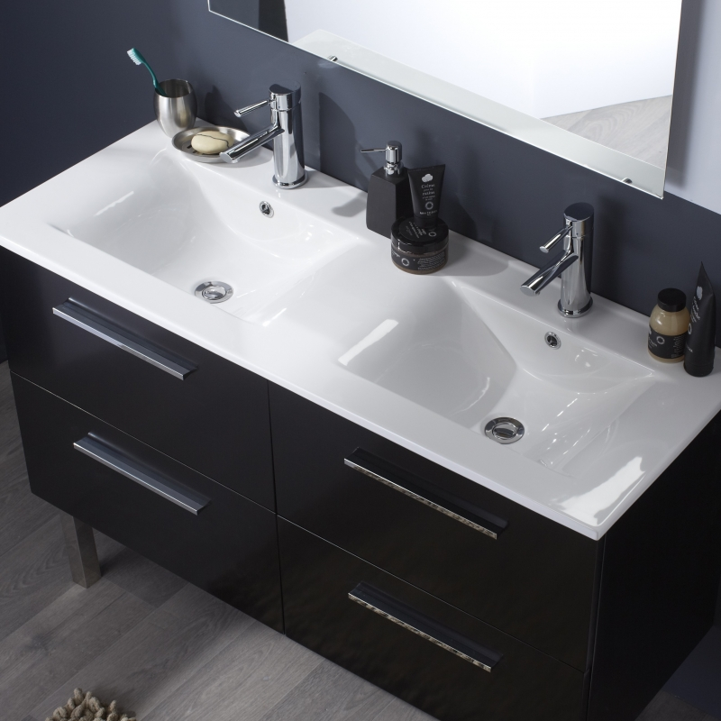 Meuble avec double vasque salle bain - maison parallele