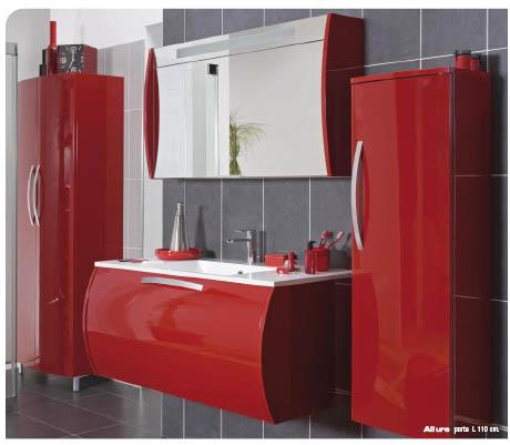 Meuble salle de bain rouge pas cher - maison parallele