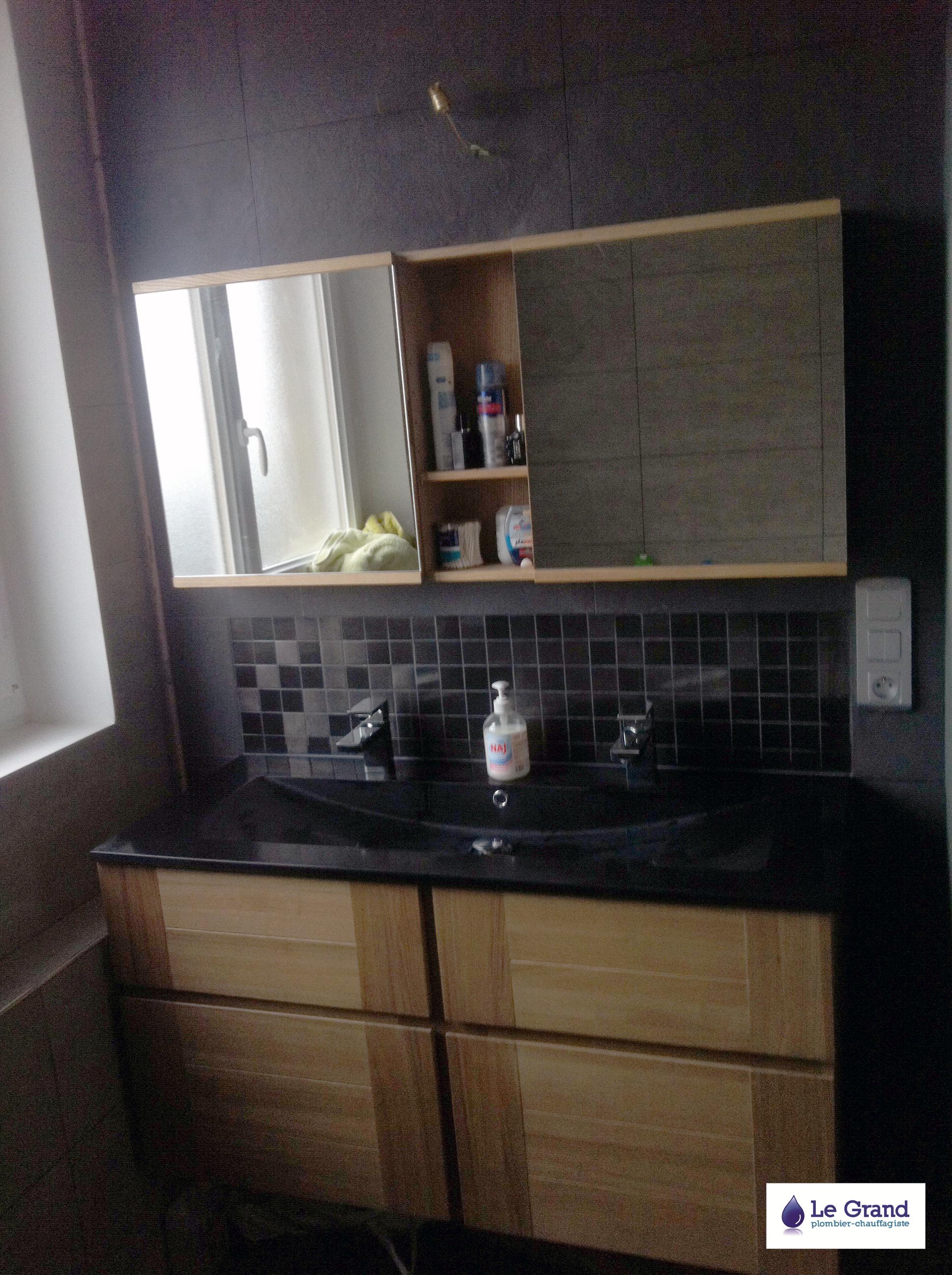 Meuble salle de bain bois noir - maison parallele